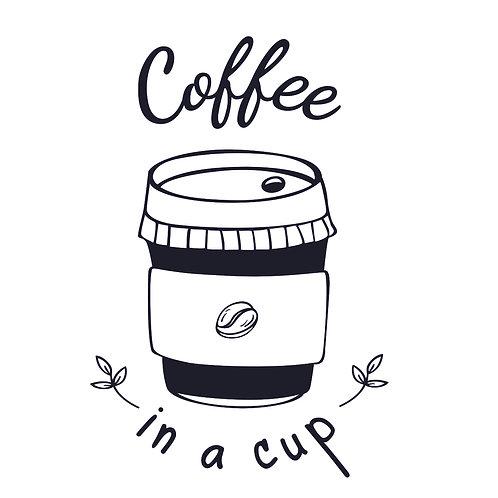 Coffee | grafikás női fehér pamutpóló