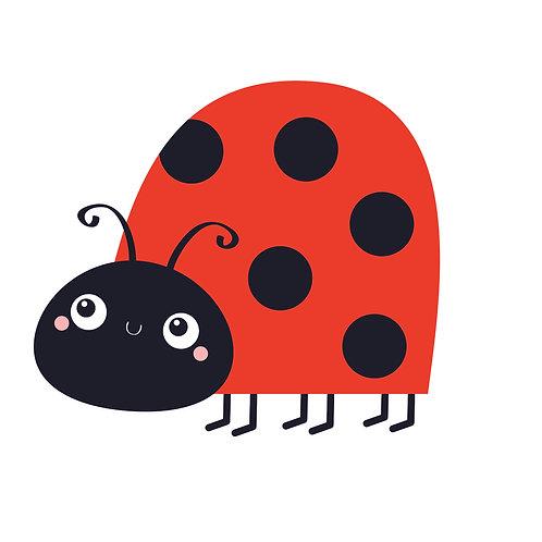 Ladybird in corner | grafikás női fehér pamutpóló