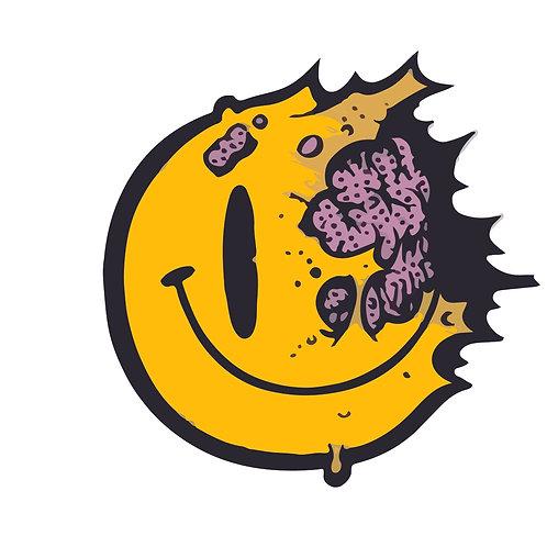 Smiley brain | grafikás férfi fehér pamutpóló