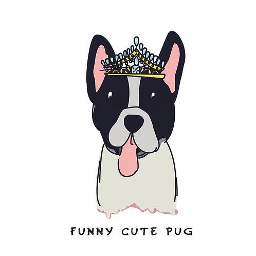 Pug with crown | grafikás női fehér pamutpóló
