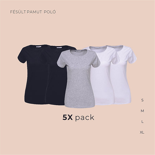 5X pack női T-shirt  | női pamutpoló