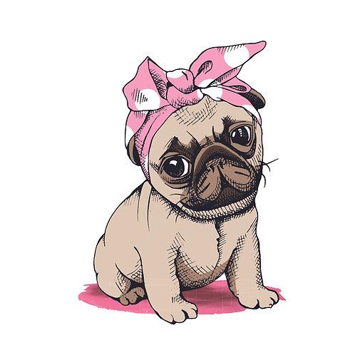 Pug pink   grafikás női fehér pamutpóló