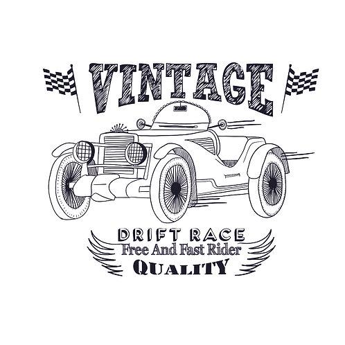 Drift race | grafikás férfi fehér pamutpóló