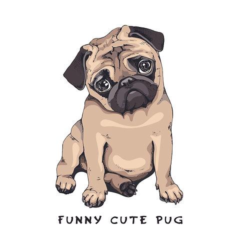 Funny cute pug | grafikás női fehér pamutpóló
