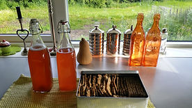 Homemade rhubarb juice, holiday in Norway, bed and breakfast in Norway, homemade eco crackers