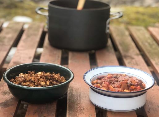 Three Bean Vegan Chili with a Vegan Tofu Crumble