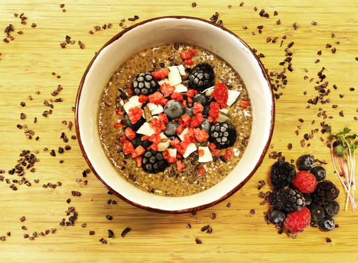 Chia Seeding Pudding with Cacao & Frozen Berries
