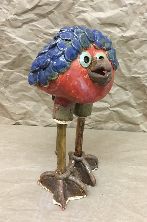 Ceramic Bluebird sculpture by artist Janie Friedland