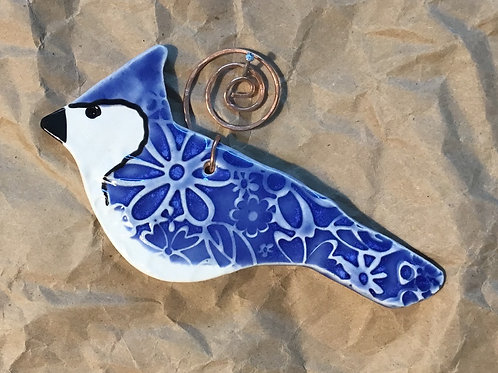 Ceramic Bluejay ornament by Michelle Makenzie