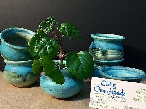 Ikebana ceramic vase, aqua glaze, by artist Carol Khonke
