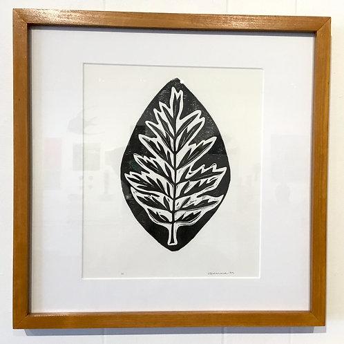 16x16 framed Leaf block print by artist Coralette Damme