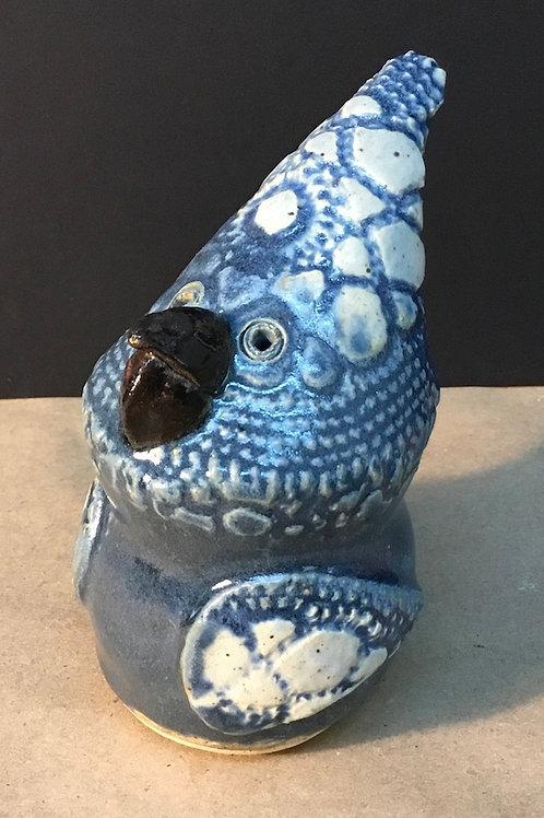 Ceramic Blue jay bird sculpture by artist Janie Friedland