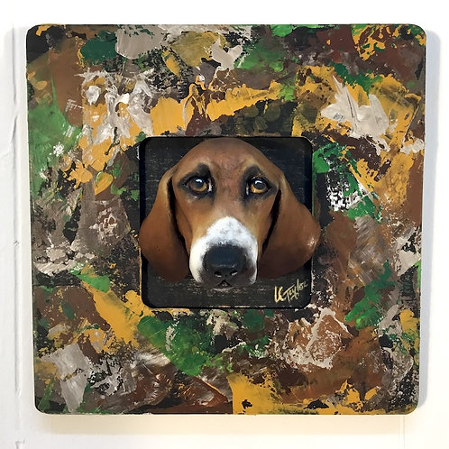 Hound dog sculpture in handpainted frame by artist Lee Taylor
