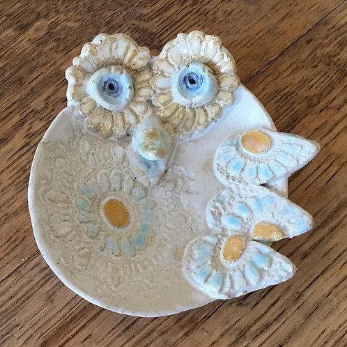 Ceramic bird dish by artist Janie Friedland