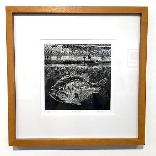 15x15 Bass fishing block print by artist Dave Bruner