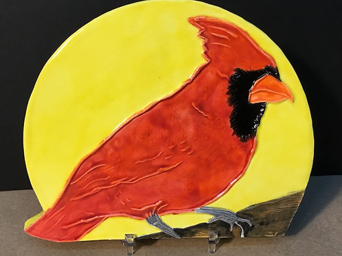 Ceramic Cardinal bird sculpture by artist Lee Taylor