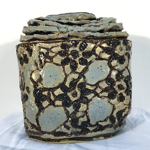 Ceramic Mountain Lace Jar by artist Janie Friedland