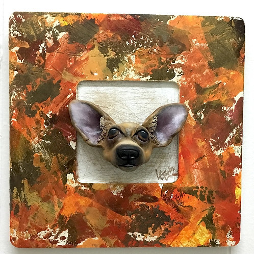 Chihuahua sculpture in handpainted frame by artist Lee Taylor
