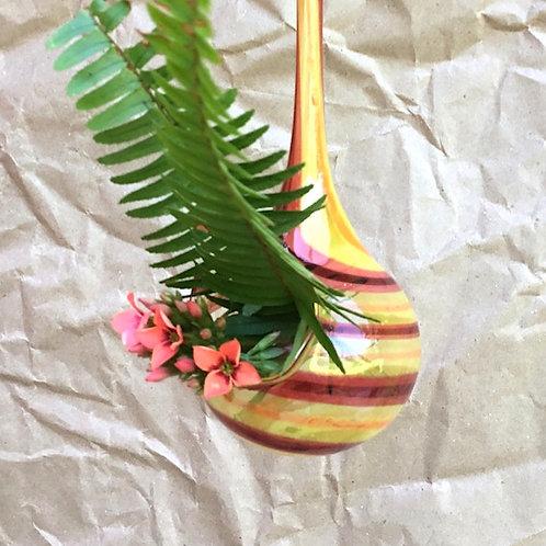 Hand blown hanging drop vase by artist Jason Probstein