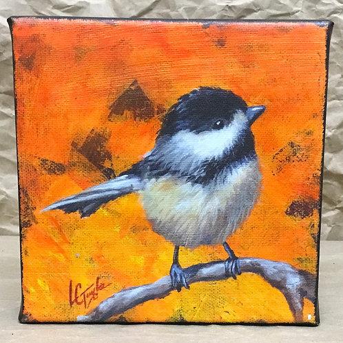 Chickadee bird giclee print on canvas by artist Lee Taylor