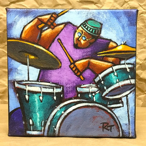 Drummer giclee print on canvas by artist Russ Taylor