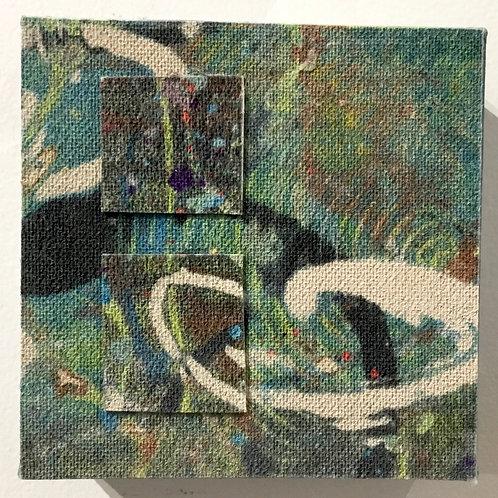 4x4 Clay monoprint on canvas by artist Deborah Gillars