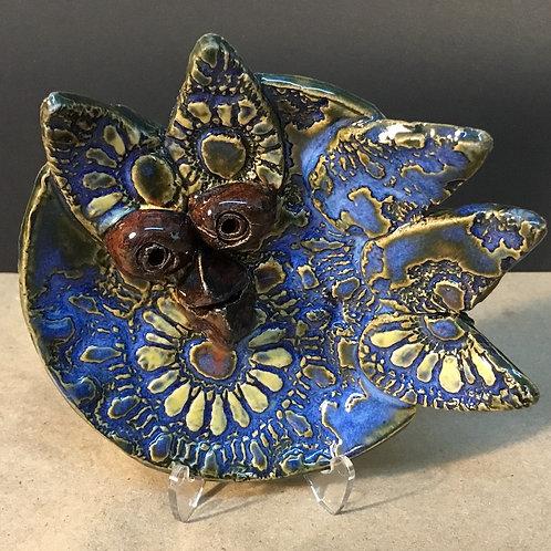 Ceramic blue bird small dish by artist Janie Friedland