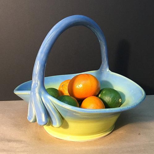 Ceramic fruit basket, blue, by artist Lynda Rix