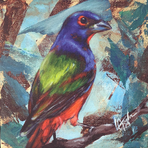 Painted Bunting bird giclee print on canvas by artist Lee Taylor
