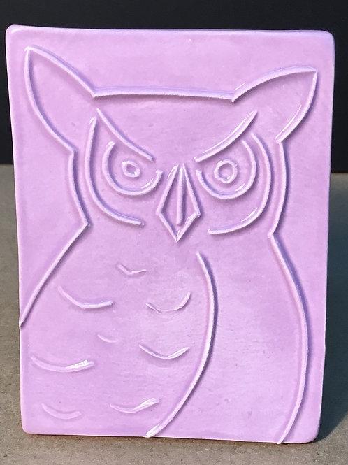 copy of Owl ceramic art, lavender glaze, by artist Lee Taylor
