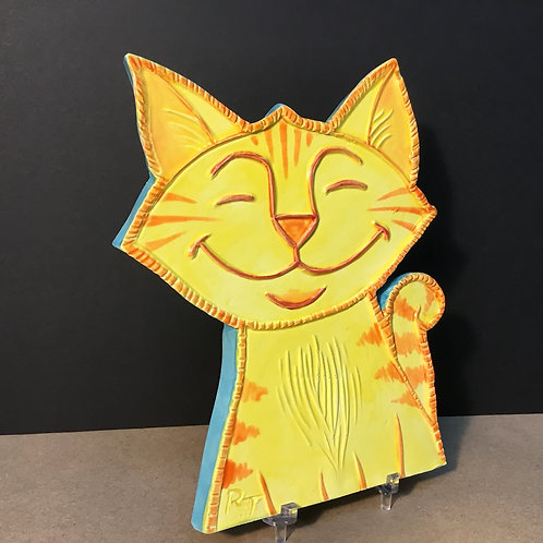 Ceramic cat by artist Russ Taylor