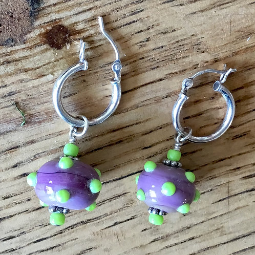 Lampwork glass bead earrings by artist Connie Parkinson