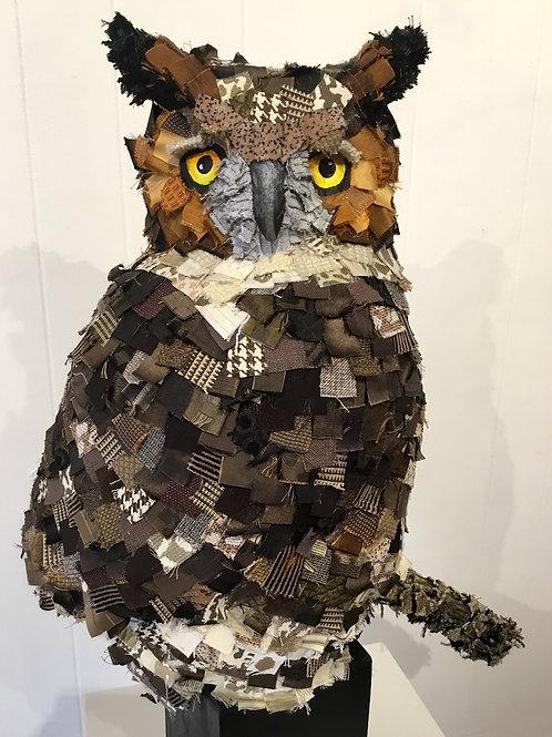 Textile owl sculpture by artist Lee Taylor