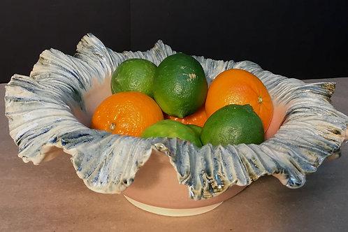 Ceramic bowl with crinkle edge, pink,  by artist Lynda Rix