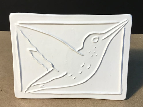 Hummingbird ceramic art, white glaze, by artist Lee Taylor
