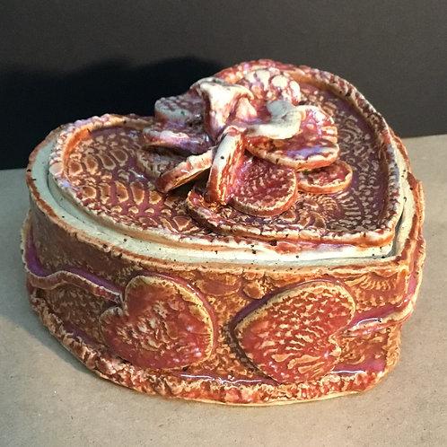 Ceramic heart box with lid by artist Janie Friedland