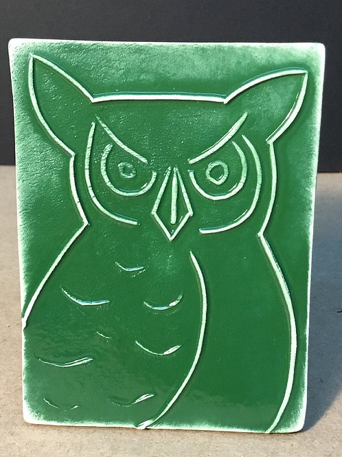 Owl ceramic art, forest glaze,  by artist Lee Taylor