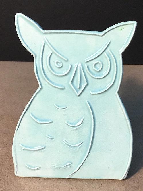 Owl ceramic art, seafoam glaze, by artist Lee Taylor