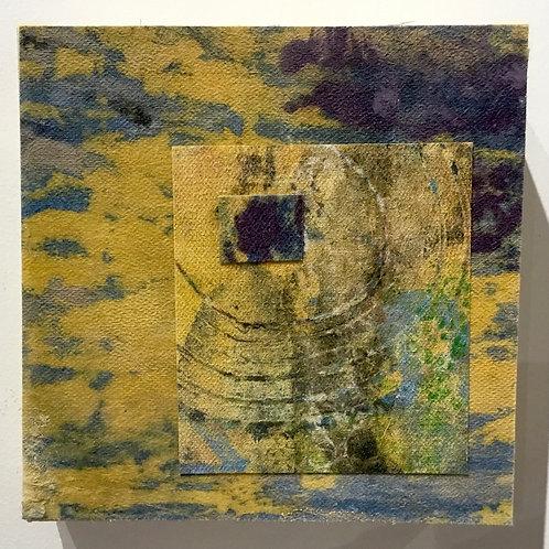 6x6 Clay monoprint on canvas by artist Deborah Gillars