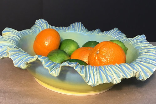 Ceramic bowl with crinkle edge, sky blue,  by artist Lynda Rix