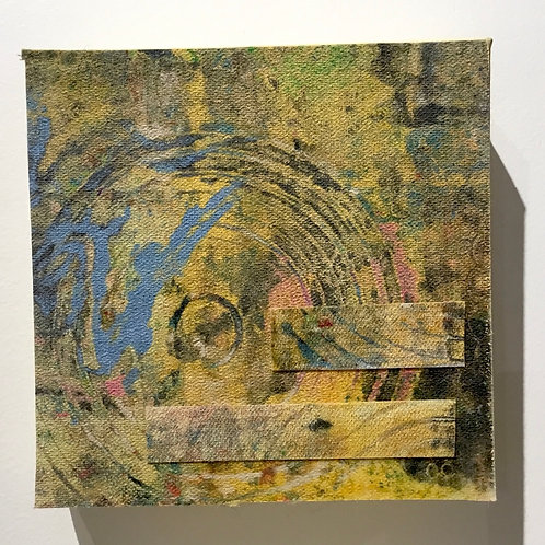 6x6 Clay monoprint on canvas by artist Deborah Gillars