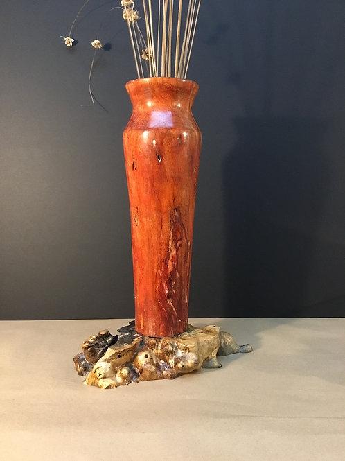 Pecan & Burl Wood vase/sculpture by artist Chris Grayson