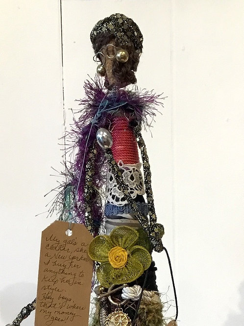 Fancy lady mixed media sculpture by artist Lois Bendheim