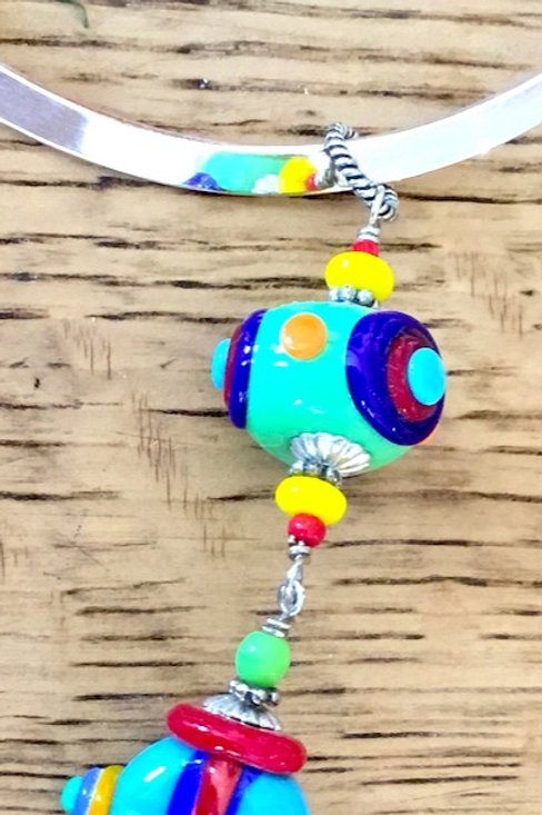 Lamp work glass bead necklace by artist Connie Parkinson
