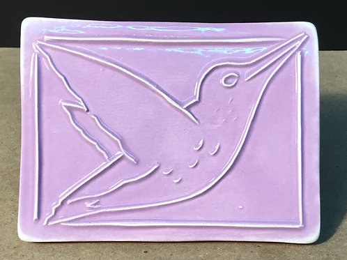 Hummingbird ceramic art, lavender glaze, by artist Lee Taylor