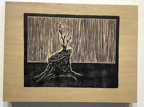 """Tenacity"" block print by artist Coralette Damme"