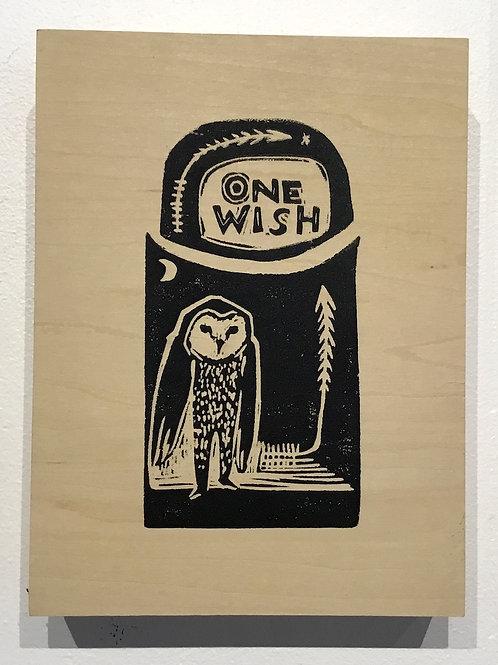 """Wish"" block print by artist Coralette Damme"