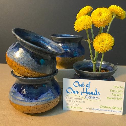 Ikebana ceramic vase, navy glaze, by artist Carol Khonke