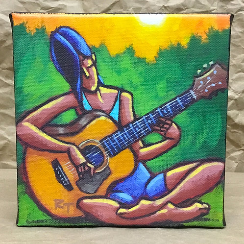 Guitar girl giclee print on canvas by artist Russ Taylor