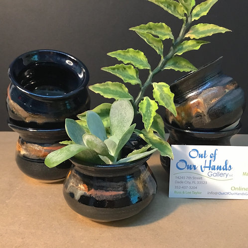 Ikebana ceramic vase, black glaze, by artist Carol Khonke